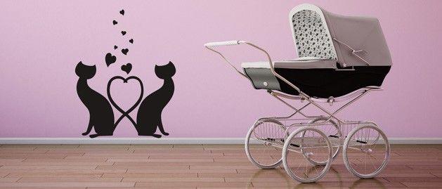 Kočky a srdce (1137) / Samolepky na zeď, stěnu a nábytek