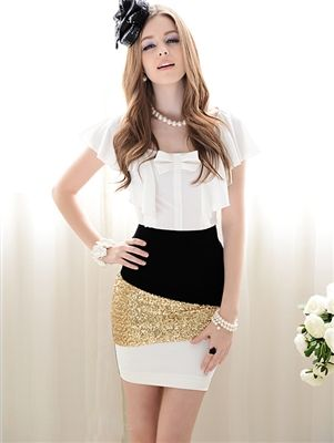 Gold Sequin Pencil Skirt Price: $27.95 Qualifies for free shipping #skirt #retro #fashion