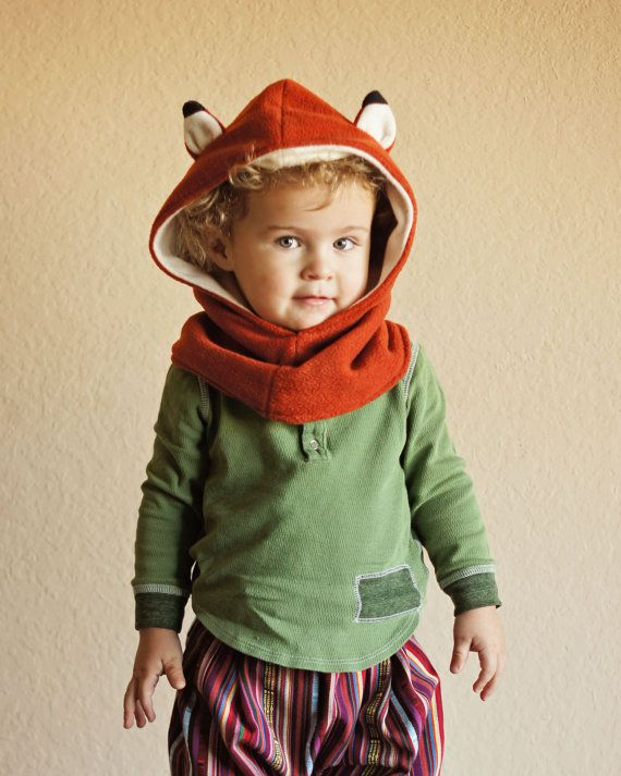 Children Fox Scarf Fox Hat Kids Hooded Scarf Fox by MondoRotondo