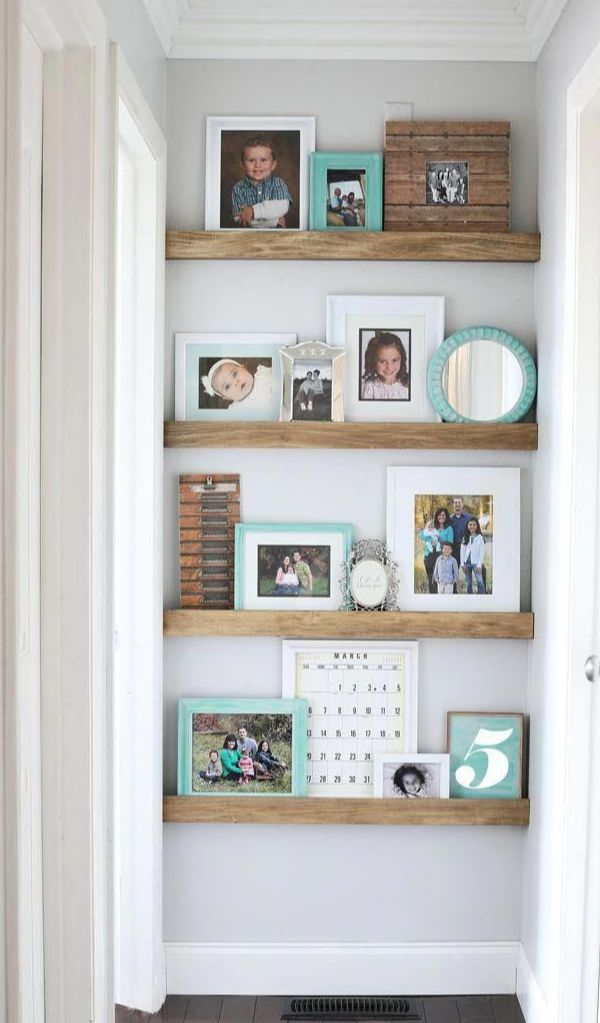 End Of Hallway Picture Shelves Floating Shelves Diy Floating Shelves Hallway Wall Decor