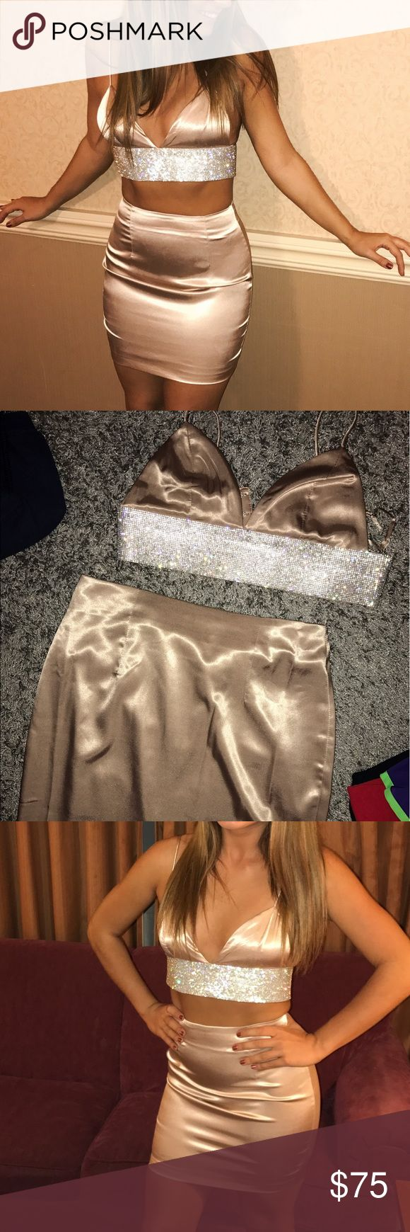 """Meshki Boutique Silk Two Piece This two piece set is from meshki boutique set out of Australia. I'm usually a size 2/4 jeans and a small in tops and ordered this two piece in a small. I'm 5'2"""" about 125 lbs and it fit perfectly. Skirts Skirt Sets"""