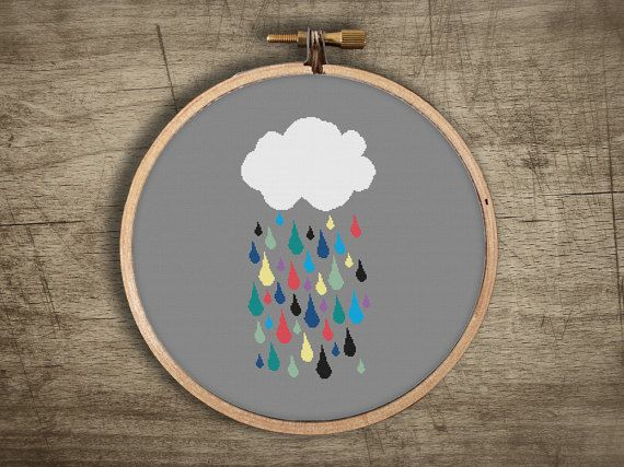 modern cross stitch pattern  retro rainbow cloud di futska su Etsy