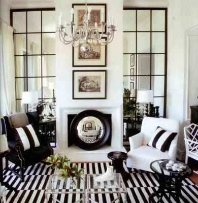 I have been looking at ideas for decorating and making a file for my future (way in the future) home and I wanted to share this photo of mirrors as windows.  I love it and all the black and white. ...