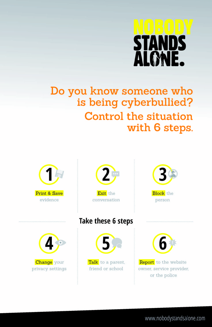 Take these 6 Steps and help put a stop to cyberbullying. www.nobodystandsalone.com