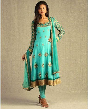 Sea Green Kalidar Suit with Embellished Floral Motifs by Aneesh Agarwaal