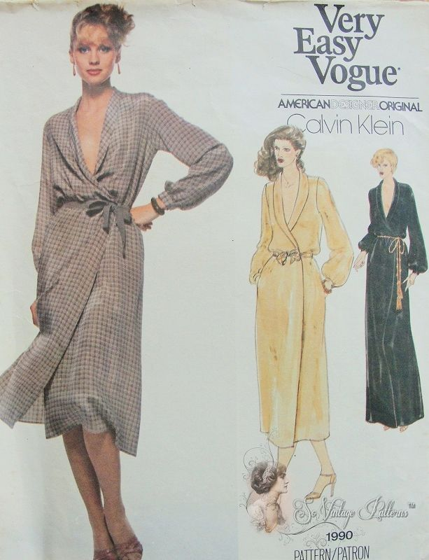 1970s CLASSY American Hustle Calvin Klein Wrap Dress Pattern Perfect All Occasion Wrap Dress Very Easy Vogue American Designer 1990 Vintage Sewing Pattern