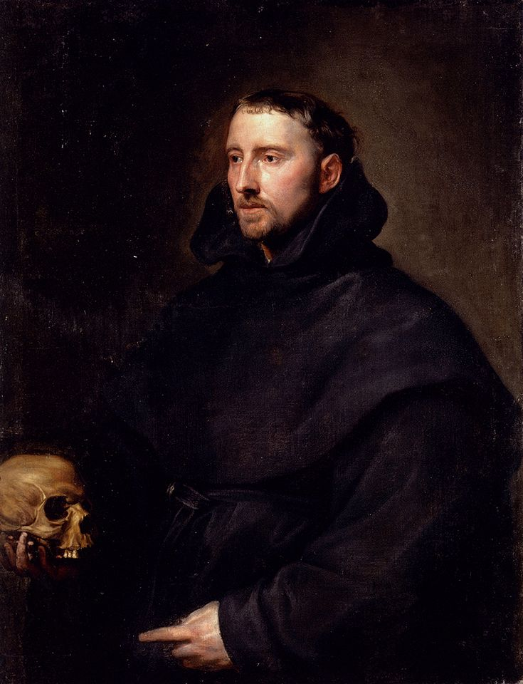 Sir Antony van Dyck (1599-1641) Portrait Of A Monk Of The Benedictine Order, Holding A Skull Oil on canvas  88.5 x 112 cm (34.84 x 3 8.09)