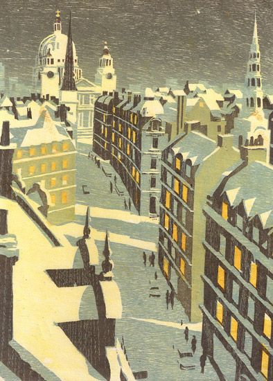 Fleet Street St Brides, Howard Brown woodcut by Andrew Davidson, III.