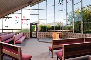 Inside the chapel at Fort Lewis College in Durango. $100 space rental fee for weddings.