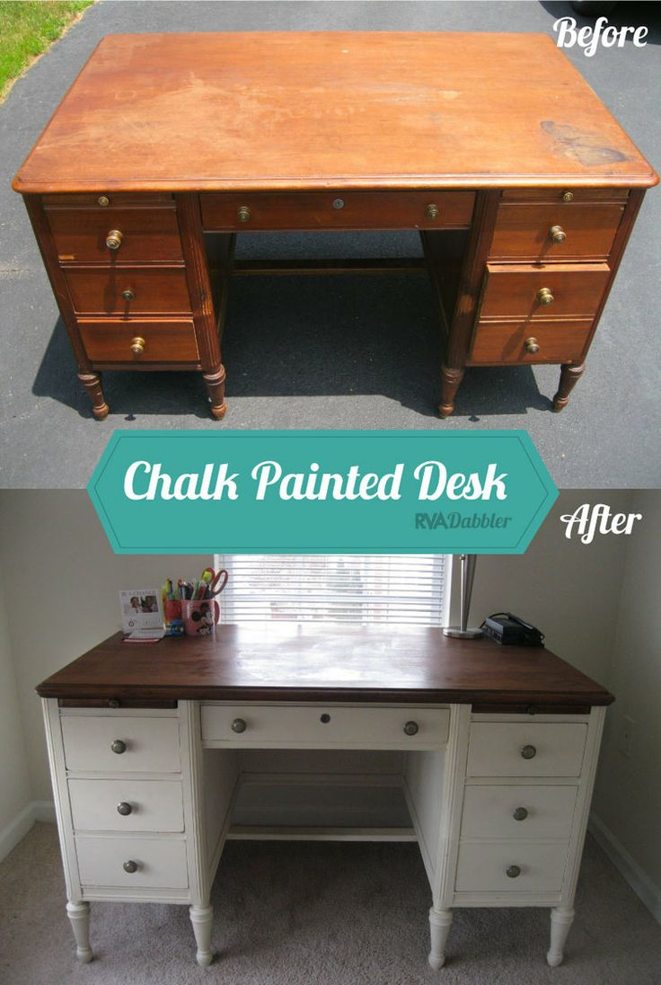 I found this hulk of a desk on craigslist, painted it Antique White from Annie Sloan chalk paints and added some new hardware. | RVA Dabbler