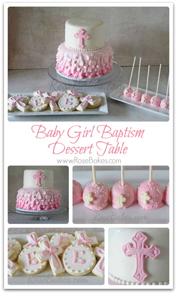 Baby Girl Baptism Dessert Table Collage