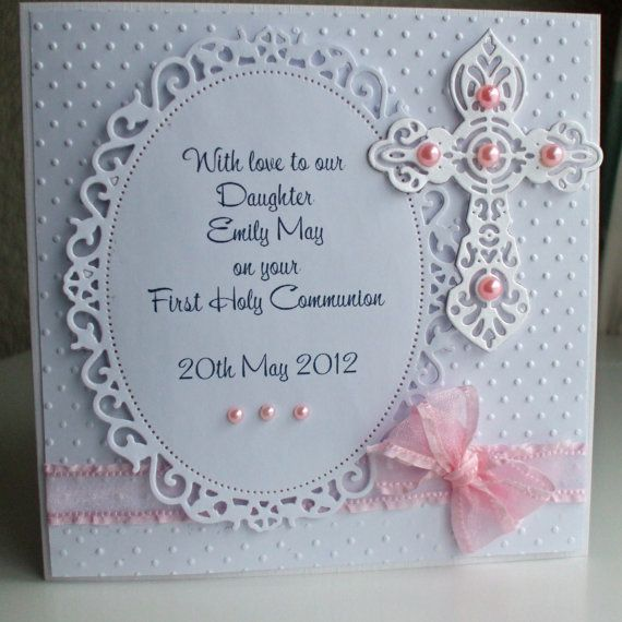 Handmade Personalized First Holy Communion Card for a Girl