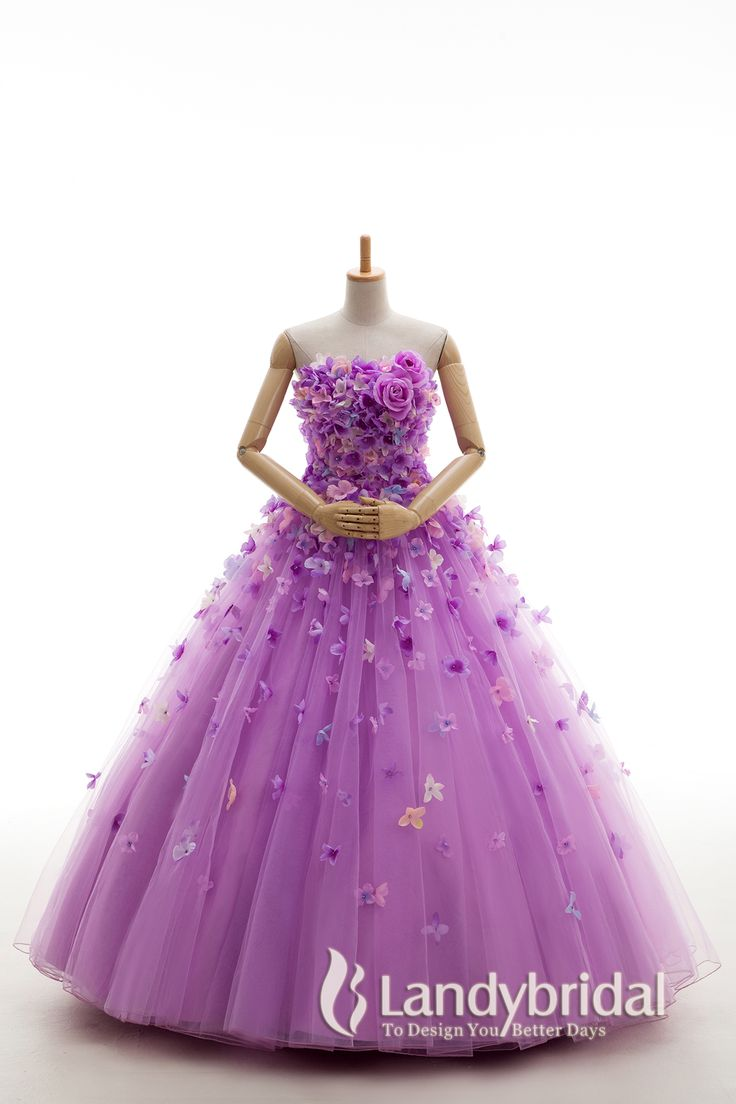 カラードレス プリンセスライン ライラックパープル フラワー お花 フロアレングス チュール JWJF15002-lilac 税込: ¥62,532