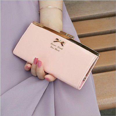 Women's PU Leather Button Fashion Clutch Lady Long Hand Bag Wallet Purse Pink