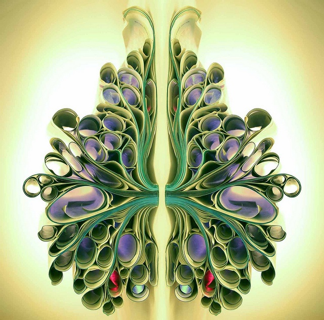 """Lungs, body parts, """"Live breath art green"""" paper art by Bronia Sawyer"""