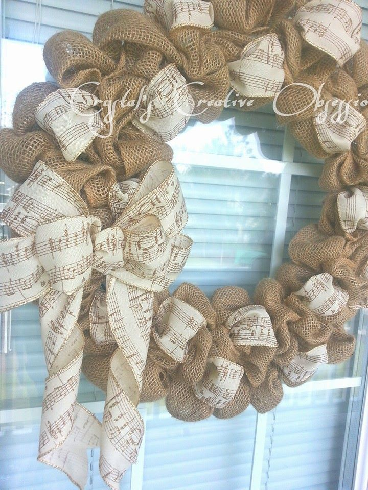 Burlap Musical Wreath, Everyday Wreath, Music Decor - pinned by pin4etsy.com