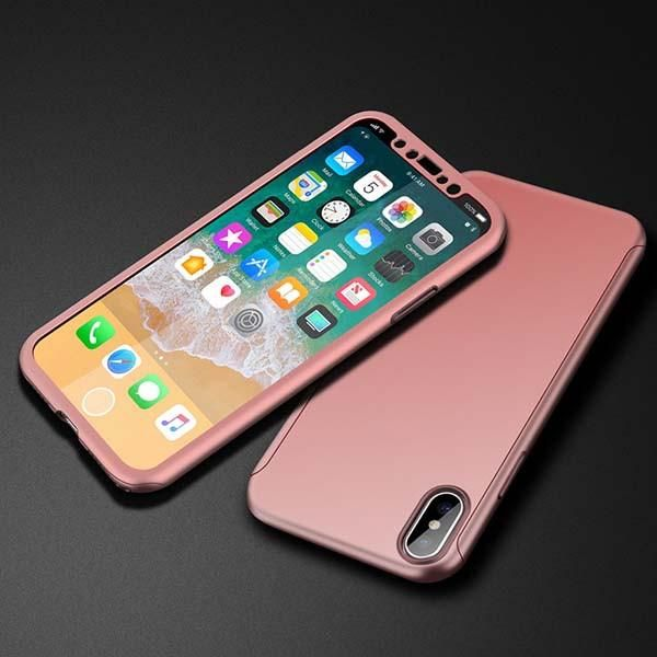 360 Full Cover Case for iphone X Fitted Cases Luxury Ultra thin Hard Shockproof Armor Phone Cases With Glass Screen Film Shell