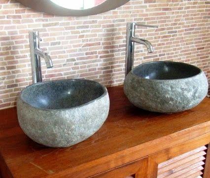 Lave main galets de rivi re retrouvez le sur www for Vasque exterieur pierre
