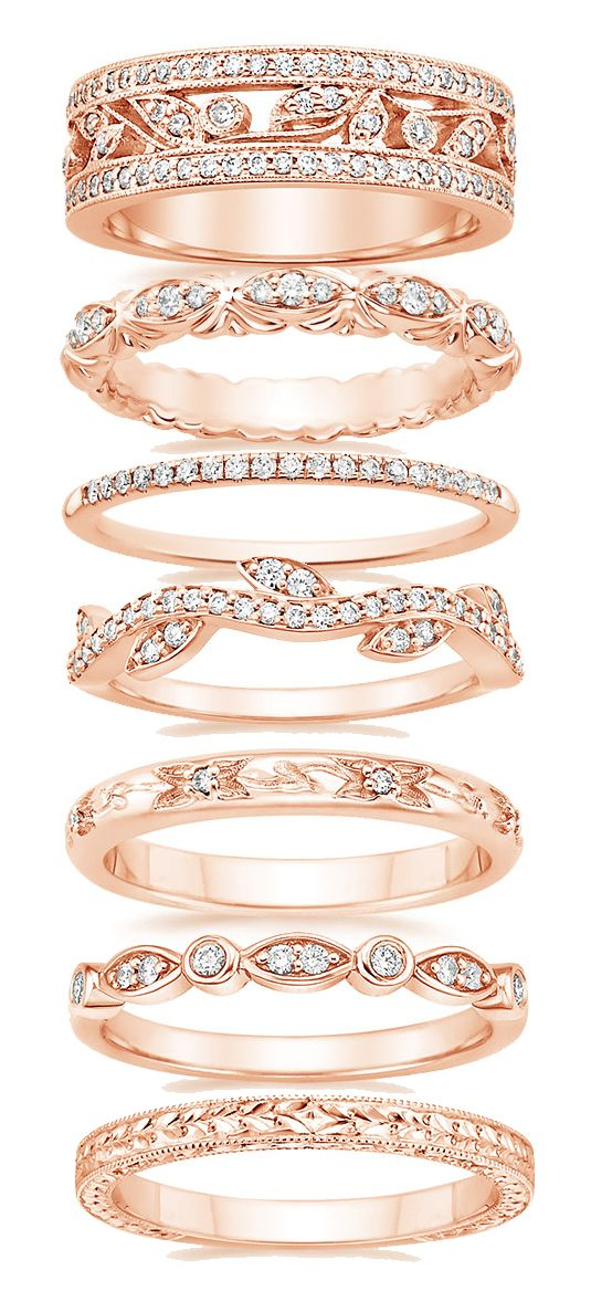 Ample variety of beautiful and intricate Rose gold wedding bands... visit our website at Fascinatingdiamonds.com