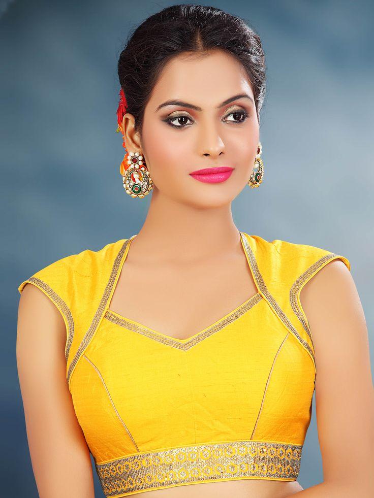 Yellow Raw Silk Designer Readymade Saree Blouse