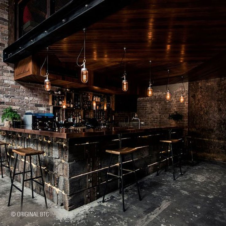 Seen at Donny's Bar in Sydney: Davey's Ship's Wellglass Pendants look great within this stylish industrial interior.