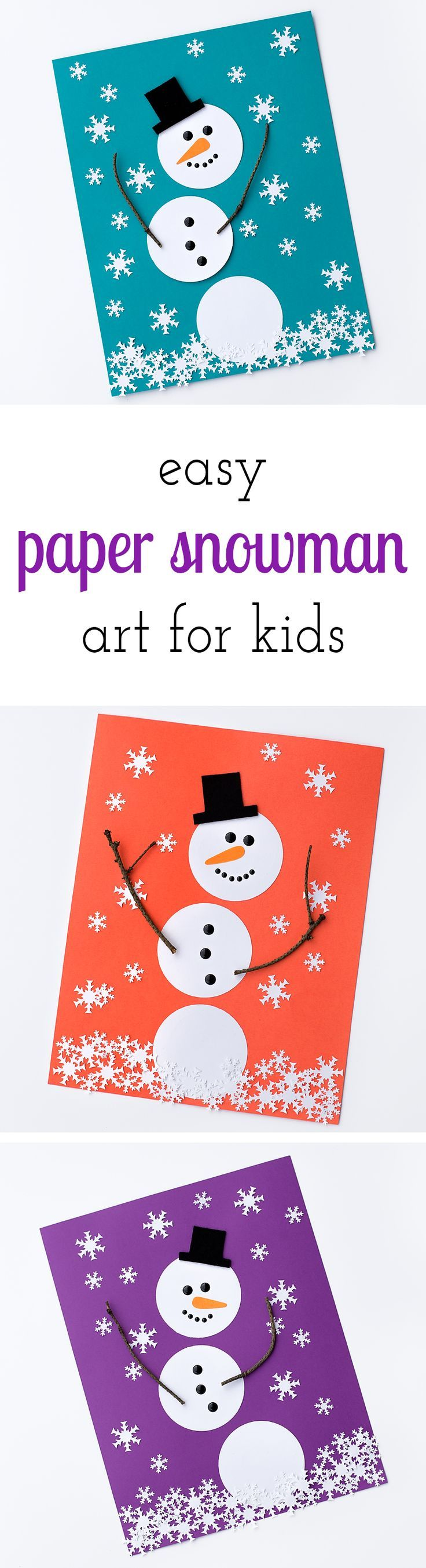 Easy Paper Snowman Art is a simple, fun, and inexpensive winter art activity for kids. Perfect for crafters of all ages! via @HTTP://www.pinterest.com/fireflymudpie/