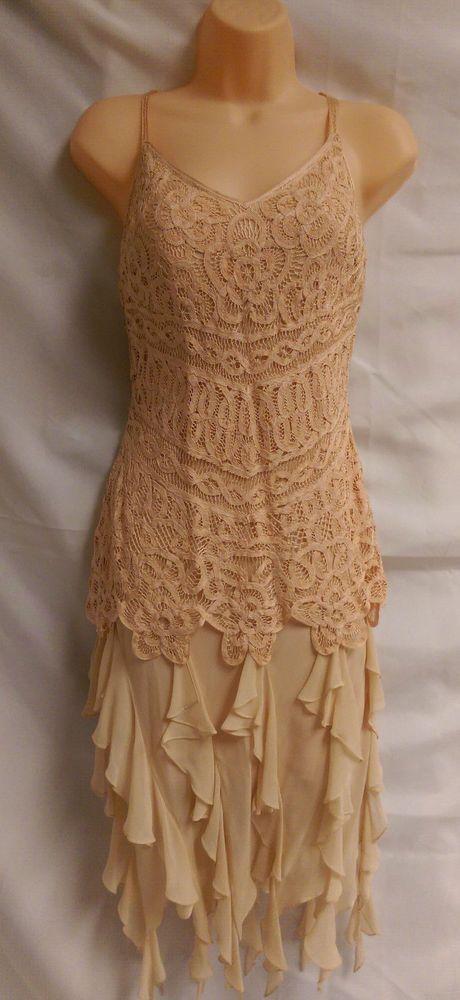 Sue Wong Silk Dress 12 Art Deco Gatsby Flapper Coral Battenburg lace #SueWong #Flapper #Cocktail