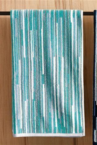 Сине-зеленый Полотенце в ломаную полоску