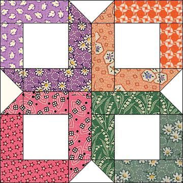 30's Box. Perfect block for the scrappy look. Works well with Bonnie Hunter's scrap saver system. Via http://www.azpatch.com/bom/bom2003/02feb03/bom03feb.htm
