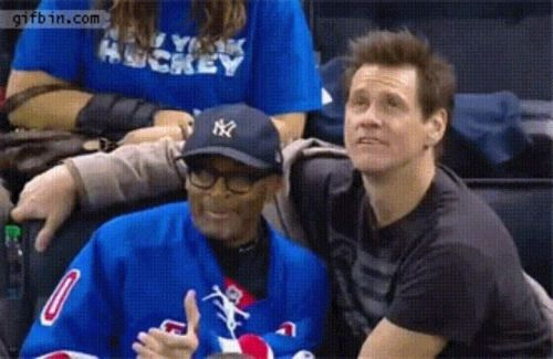 Jim Carrey and Spike Lee fooling around on the jumbotron via...