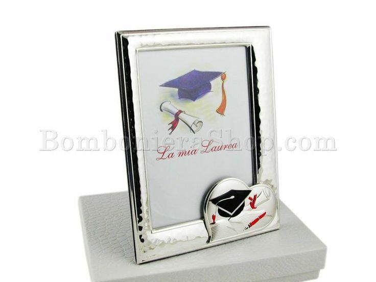 Portafoto in laminato argento La mia Laurea con cuore stilizzato