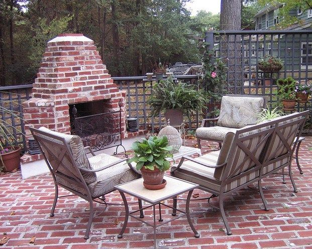 Vintage red brick small and simple design for patio brick fireplace  Screened in porch  Brick