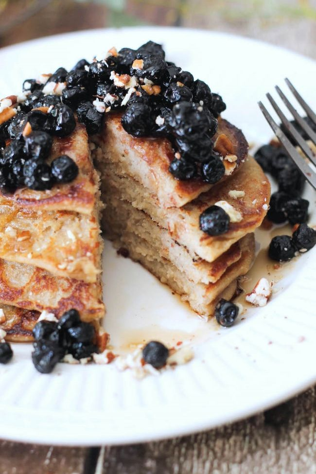 ... Ricotta Pancakes w/ dried blueberry compote (vegan & gluten-free
