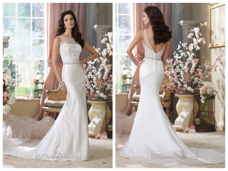 Illusion Bateau Neckline Embroidered Mermaid Wedding Dresses with Deep V-back