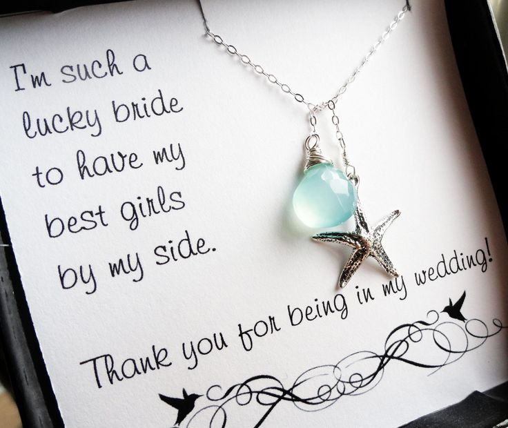 Bridesmaid thank you cards with starfish lariat necklace, beach wedding jewelry, aqua necklace, thank you gifts for bridesmaids. $36.50, via Etsy.