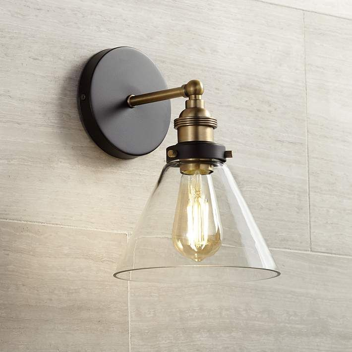 Burke 10 3 4 High Black And Warm Brass Led Wall Sconce 35g78