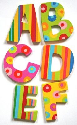 Wooden Alphabet Letters: Spots & Stripes - Tatiri. A really gorgeous range of wooden painted letters in a Spots & Stripes design by Tatiri. Suitable for Boys & Girls - Great for bedroom doors & walls, toy boxes, party bags etc.