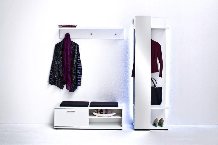 Garderobenpaneel Rubin II Hochglanz Weiß Klare moderne Möbellinie Passend zur Möbelserie Rubin 1 x Garderobenpaneel mit Spiegel mit 1 Kleiderstange und 2 Ablageböden... #flur #garderobe
