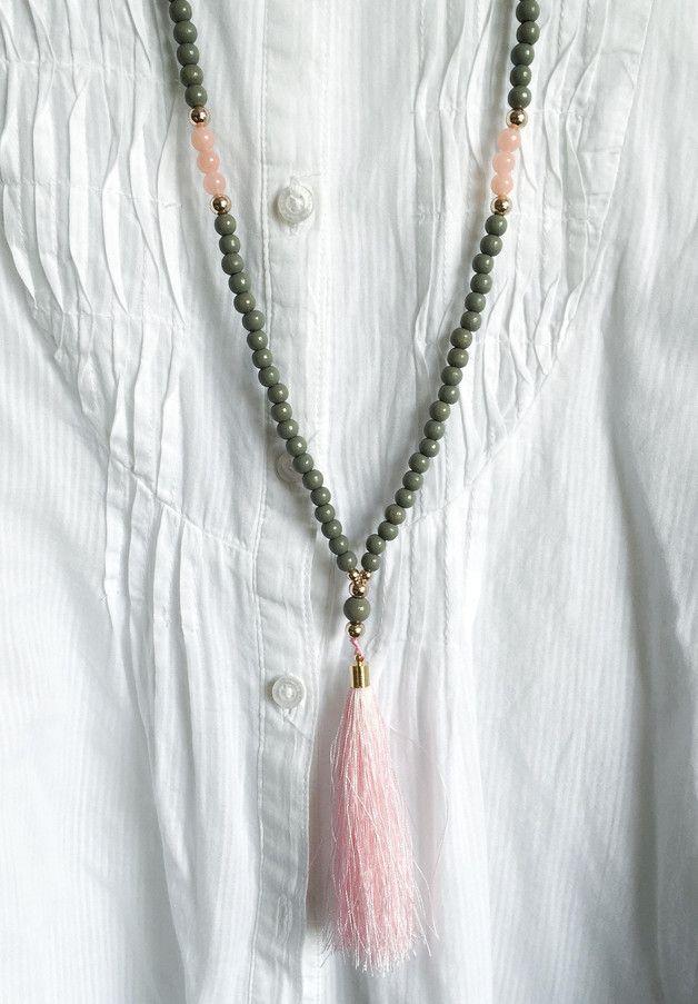 Ketten lang - Kette mit Quaste ★ Holzperlen ★ Rosenquarz - ein Designerstück von lady_chaos bei DaWanda