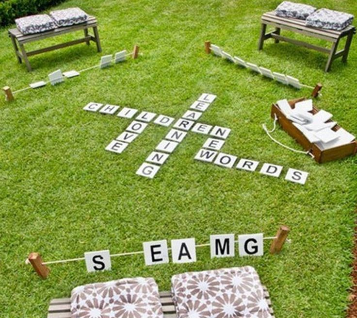 Use floor tiles to play lawn Scrabble