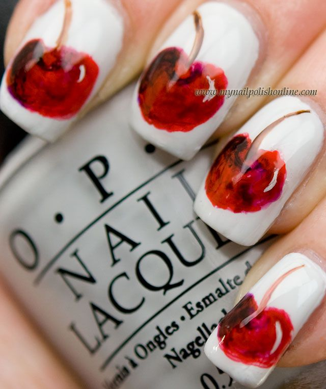 Very nice cherry nail art by Mynailpolishonline.