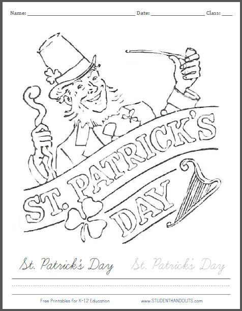 Tons of free printable coloring pages for St. Patrick's