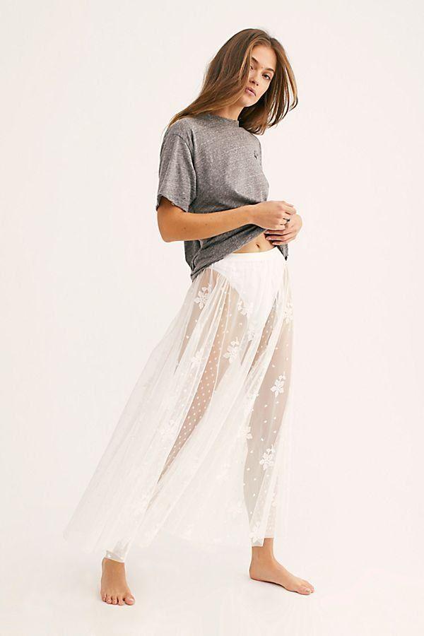 Spring Fever Embroidered Half Slip Skirts Spring Slip On Skirts