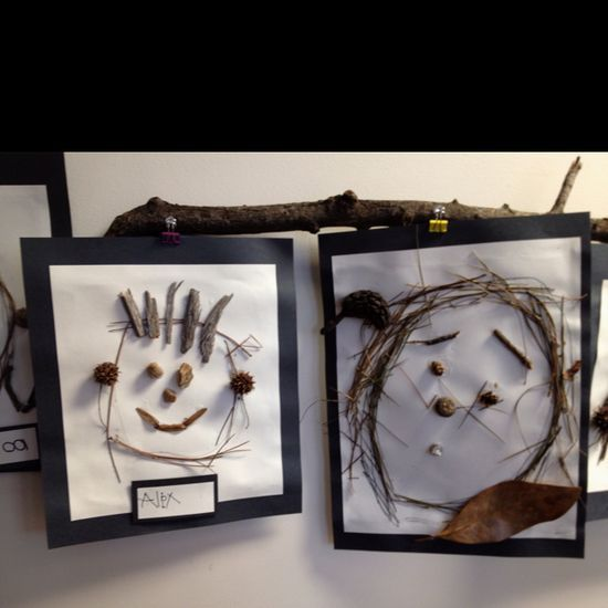 After going for a walk through the woods, the children were encouraged to make a self portrait with all the nature treasures that we collected.  We used a nice sturdy paper and glue it with tacky glue.