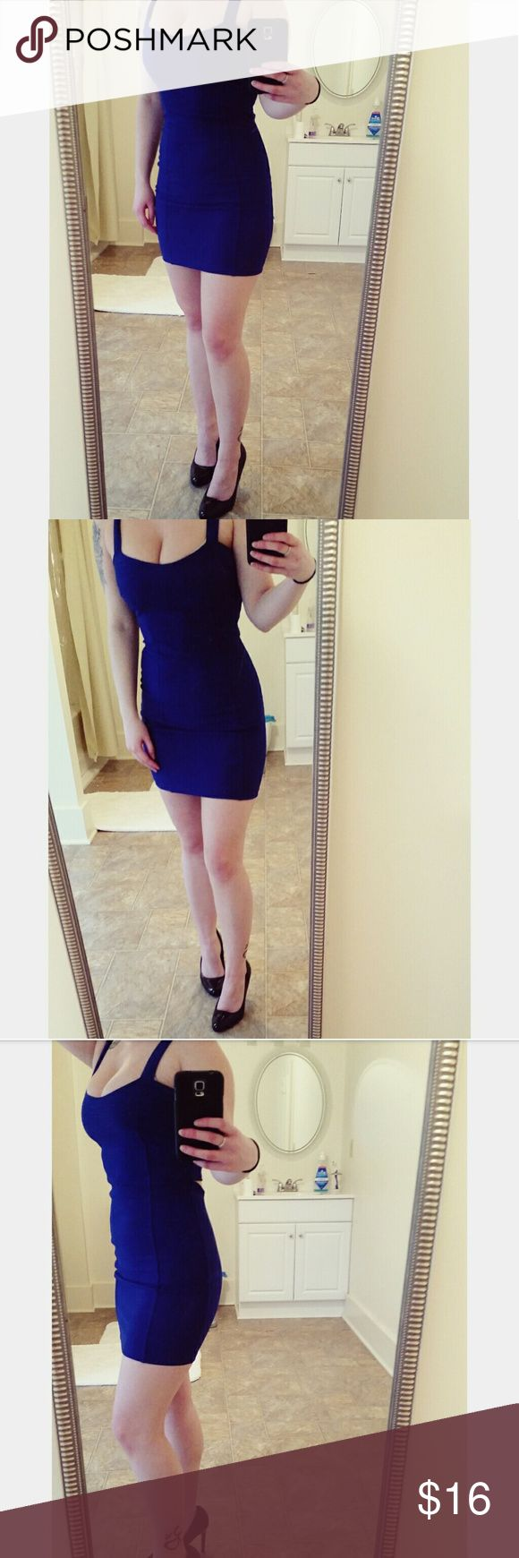 Slimming Dress Super cute, royal blue bodycon dress. Gives you a slimmer figure but is comfortable. Really cute back too. Worn I think twice! Charlotte Russe Dresses Mini