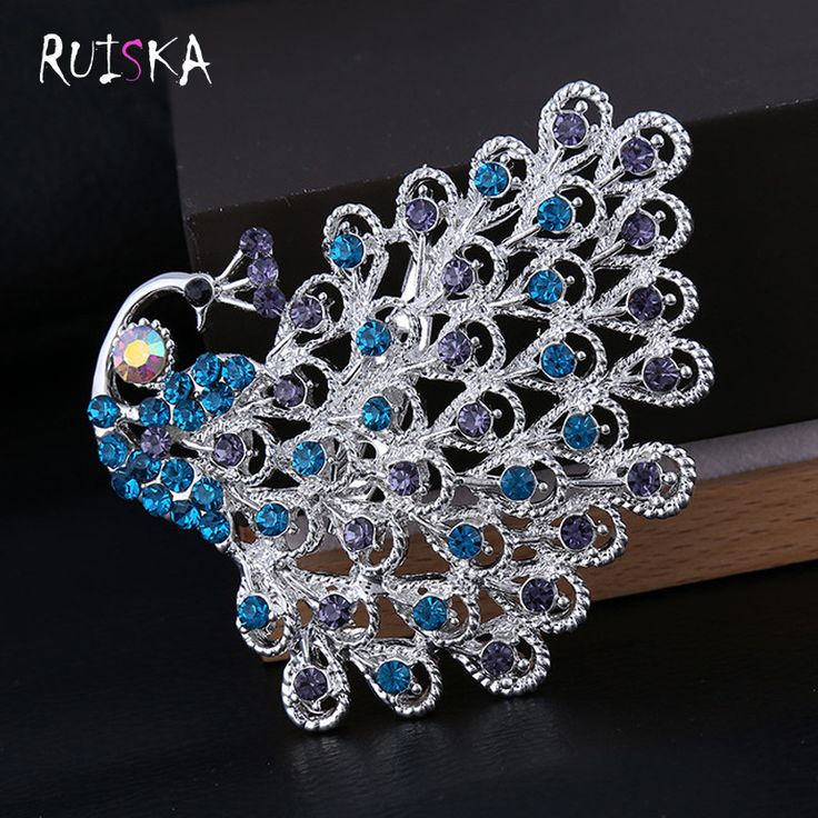 Fashion personality Female Peacock Brooch Beautiful Animal Bird Crystal Brooches Pins Factory Price RUISKA Fashion Jewelry