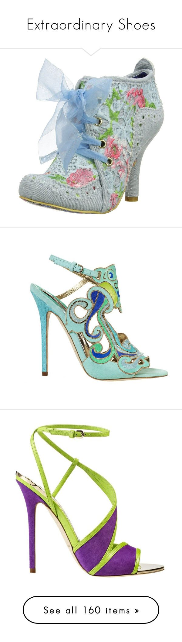 """""""Extraordinary Shoes"""" by giovanina-001 ❤ liked on Polyvore featuring shoes, boots, ankle booties, heels, blue boots, heeled ankle booties, blue ankle booties, party boots, irregular choice booties and sandals"""