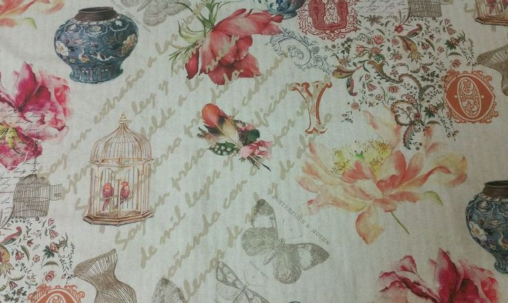 NEW 6m Modern Vintage French Butterfly Script Floral Curtain fabric, biege, chic