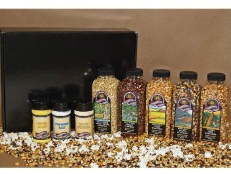 Gourmet Popcorn Gift Set – Natural Bounty Best of all you can sample about 5-8 batches of each flavor. Popcorn flavors include White Birch, Savanna Gold, Red River Valley, Harvest Blend, Sunset Fire. Includes a bottle of Popcorn Salt, Butter Burst Seasoning, Southwest Sizzle Seasoning.