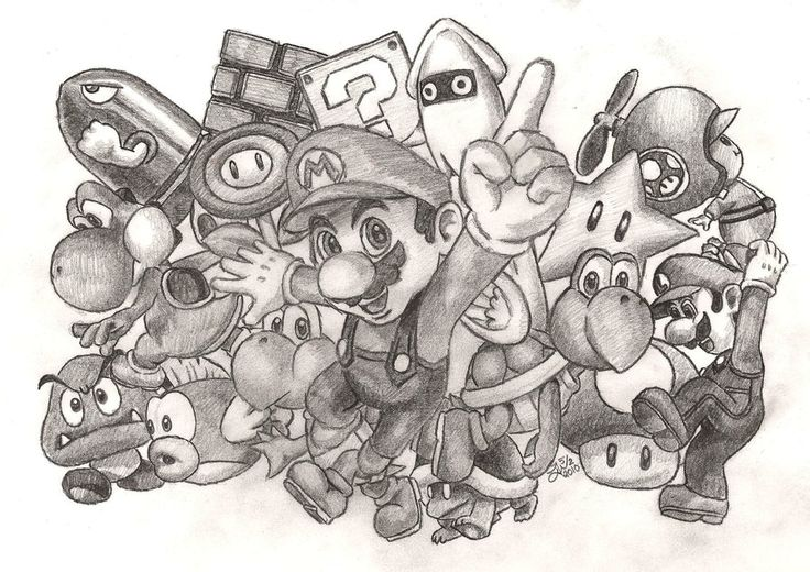 super mario drawing full of characters by jojomalfoy